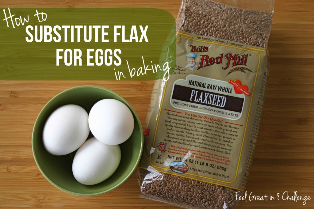 How to Substitute Flaxseeds for Eggs - This super cool tip boosts the health benefits/fiber and reduces the calories in muffins, cakes and sweet breads! | Feel Great in 8 #healthy #substitute