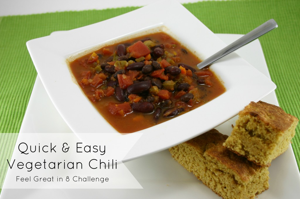 Quick & Easy Vegetarian Chili | Feel Great in 8 #vegetarian #meatless #healthy #recipe