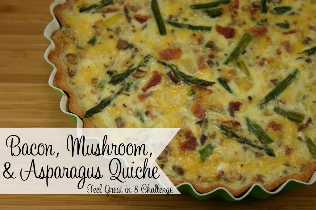 Bacon, Mushroom, & Asparagus Quiche - Add your favorite veggies to this delicious quiche with a whole wheat (no shortening) pie crust! Feel Great in 8 #healthy #breakfast #dinner #recipe