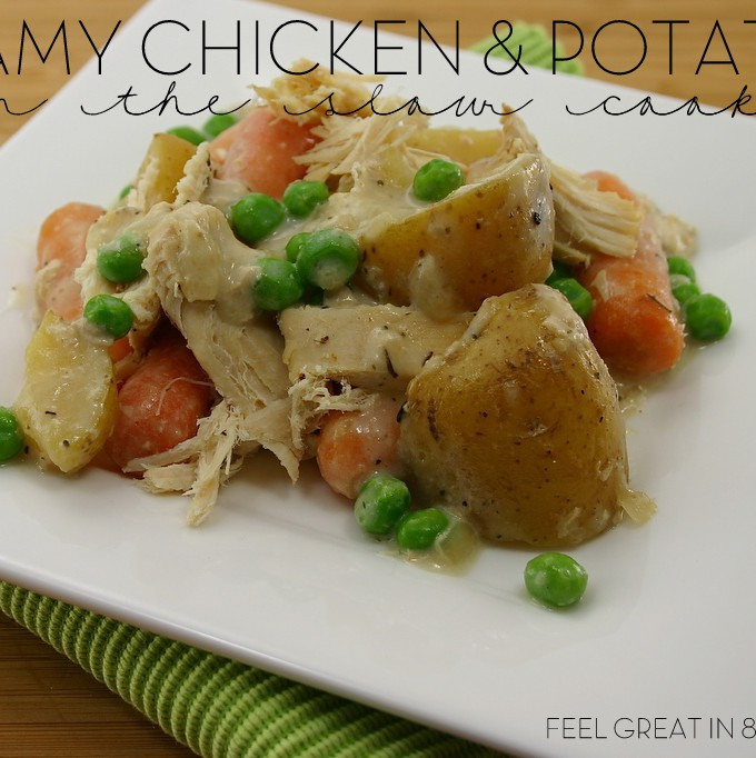 This Creamy Chicken & Potatoes a healthy meal that you can just throw into the slow-cooker in the morning and dish out at dinner time! #healthy #crockpot #chicken #dinner