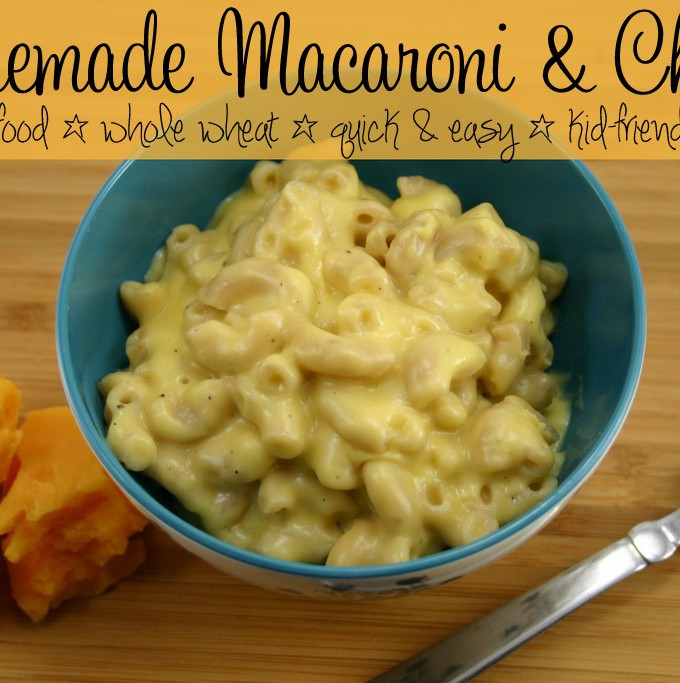 This quick and easy homemade macaroni and cheese is made with 100% healthy, real food ingredients. Whole wheat pasta, real cheese, and still a kid favorite! #healthy #kids #dinner #macandcheese