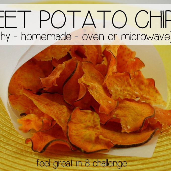In less than 10 minutes {in the microwave or oven} you can have healthy homemade sweet potato chips! Perfect for those crunchy, salty cravings! Feel Great in 8 #chips #healthy #recipe #snack