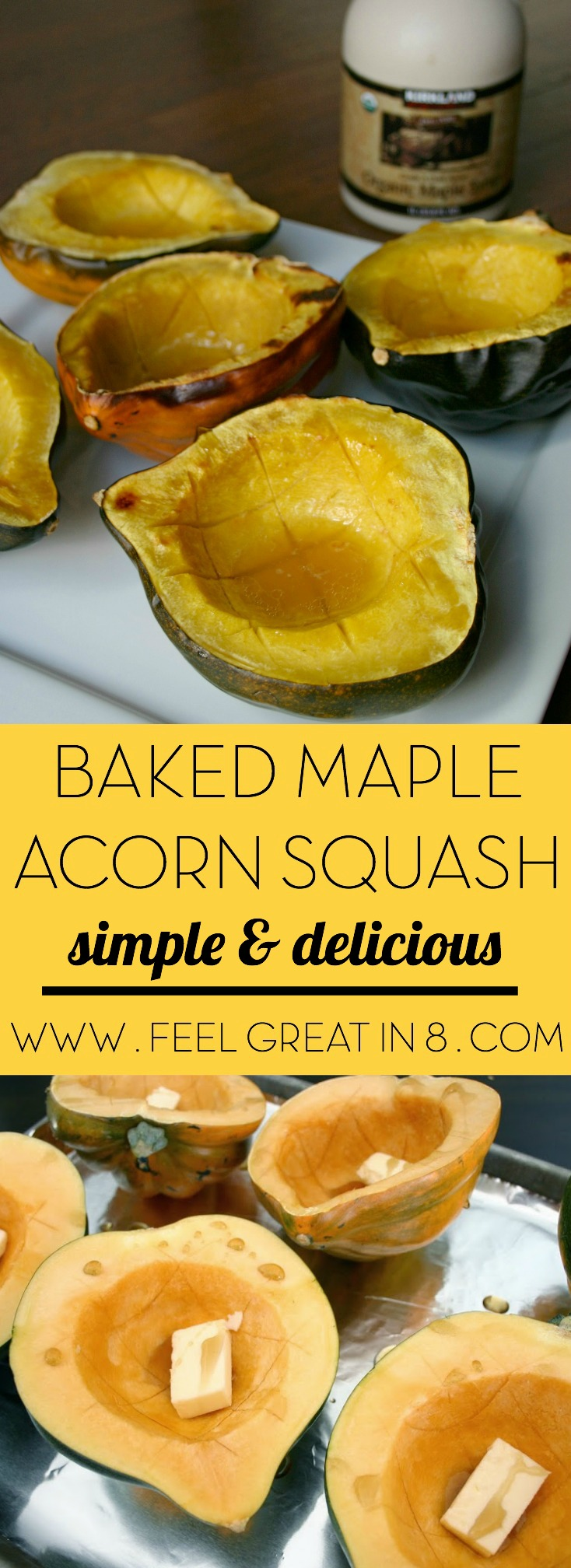 Baked Maple Acorn Squash - This healthy, delicious, and beautiful side dish is the perfect quick & easy addition to your Thanksgiving menu!