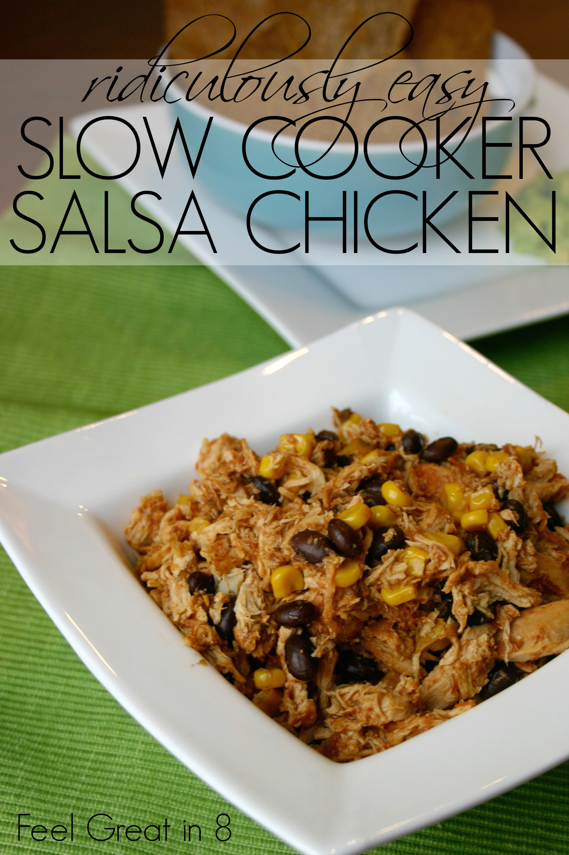 Ridiculously easy is really the only way to describe this chicken recipe. Open a few things, dump in slow cooker (aka CrockPot), let cook for 4-10 hours, and dinner is ready! #chicken #dinner #healthy #easy #slowcooker