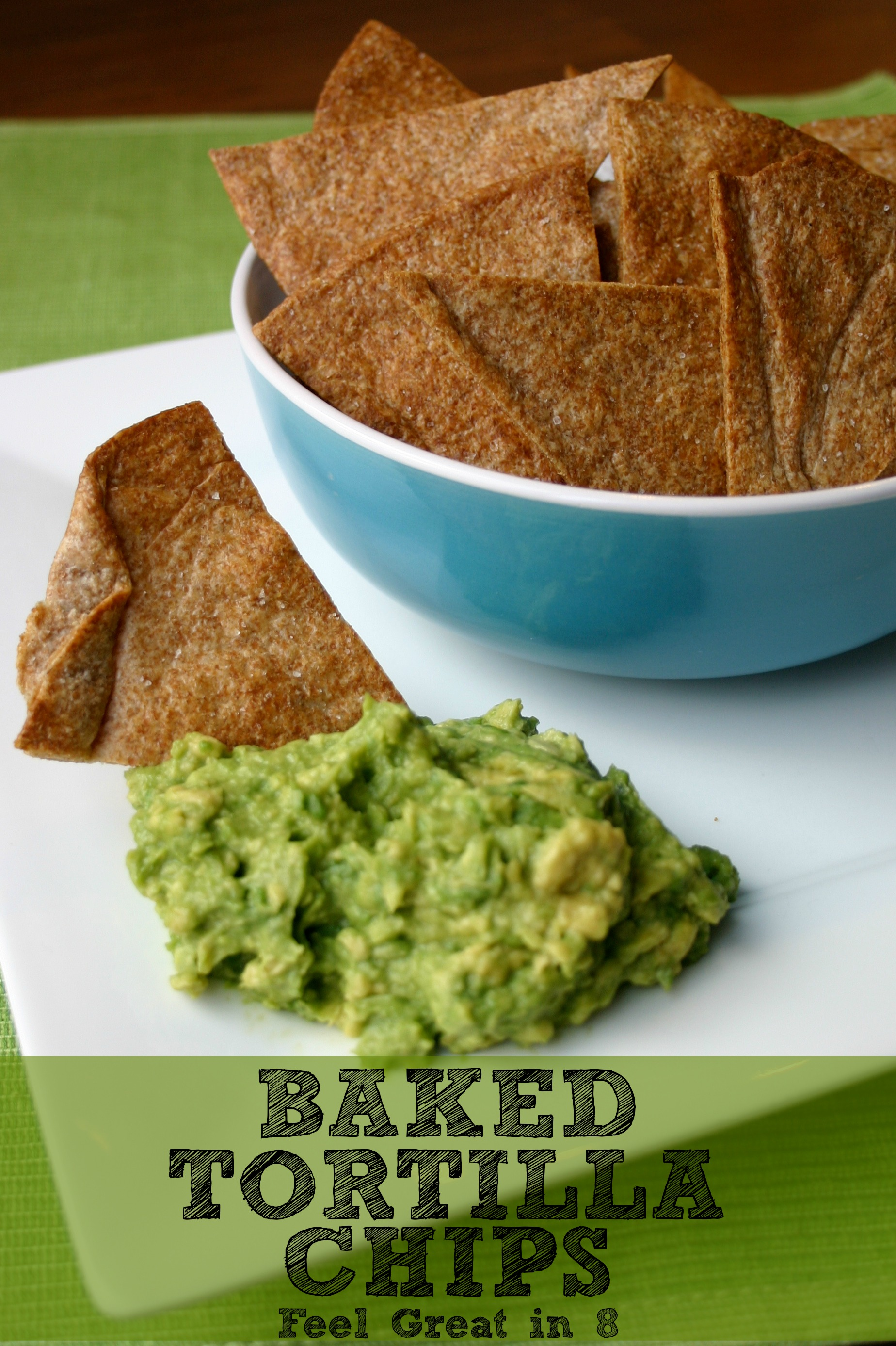 Cut back on calories and unhealthy fats with these homemade baked tortilla chips! They are the perfect healthy solution to salty, crunchy cravings! #healthy #snacks #homemade