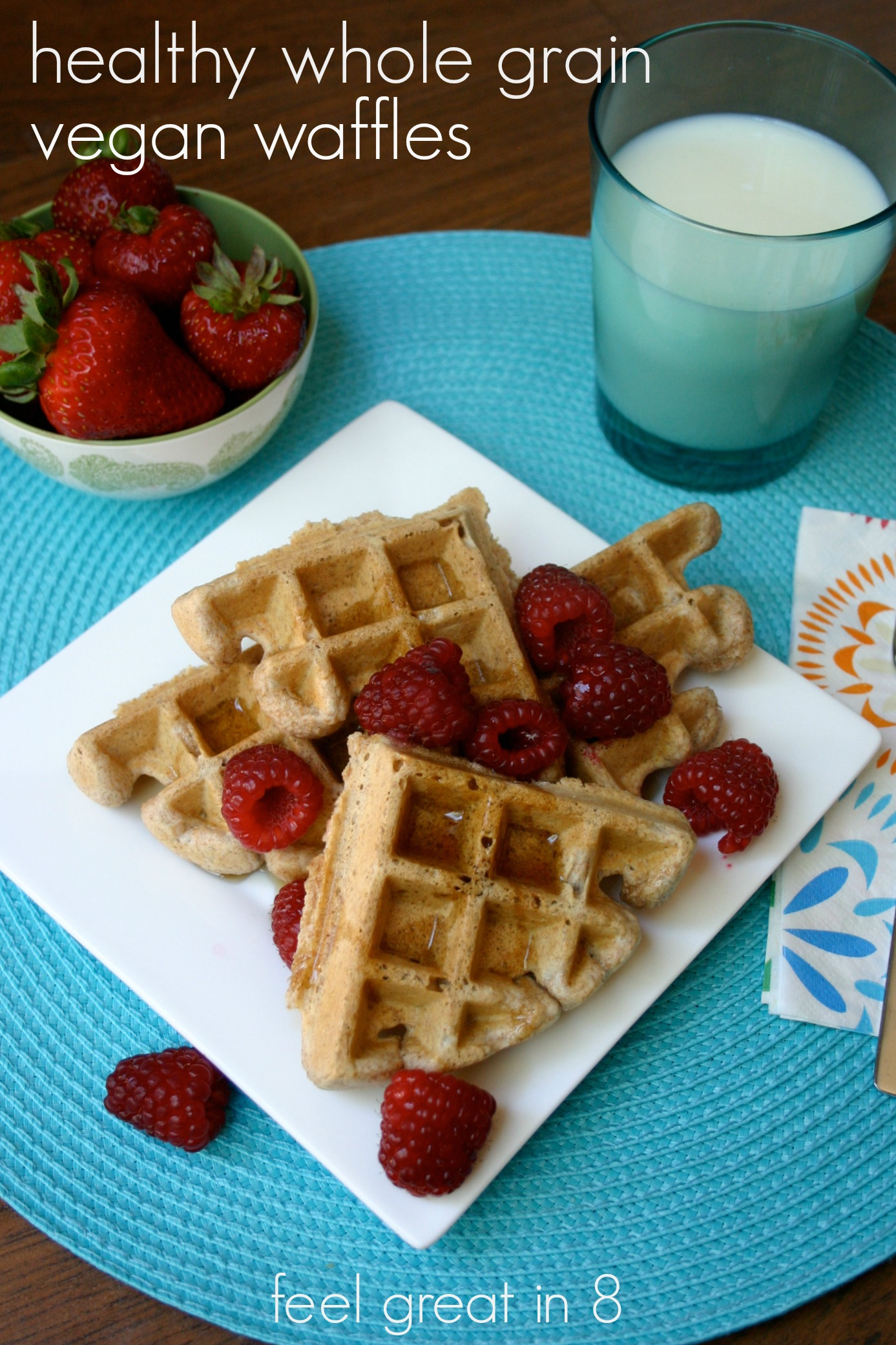 Healthy Whole Grain Vegan Waffles - You won't believe these delicious waffles are made with whole wheat, chia seeds, and coconut oil! #healthy #breakfast #vegan