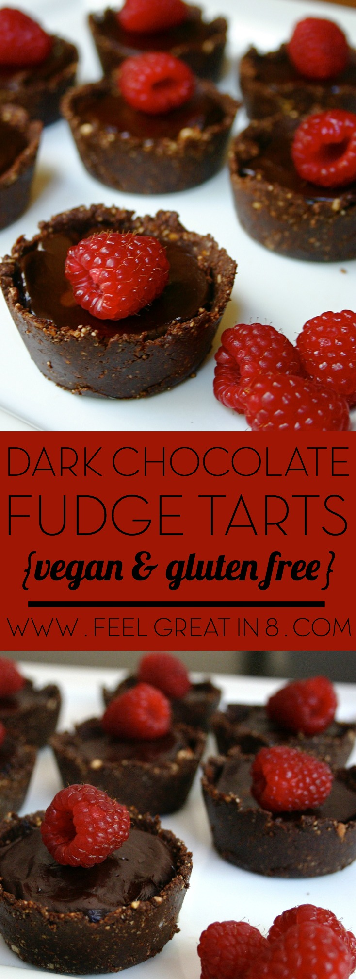 You'll never believe that these incredibly delicious Dark Chocolate Fudge Tarts are refined sugar free, gluten free, and no bake! | Feel Great in 8