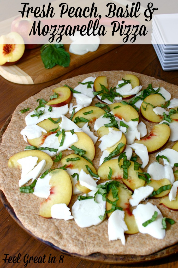Fresh Peach, Basil & Mozzarella Pizza - Feel Great in 8. The flavors in this easy, fresh, and light pizza are absolutely delicious! You have to give it a try! #healthyrecipe #pizza #peaches