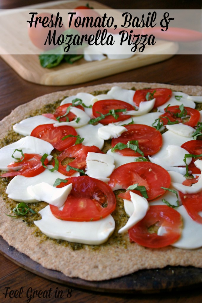 It doesn't get much better than pesto, tomatoes and fresh mozzarella cheese on a nutty whole wheat pizza crust!