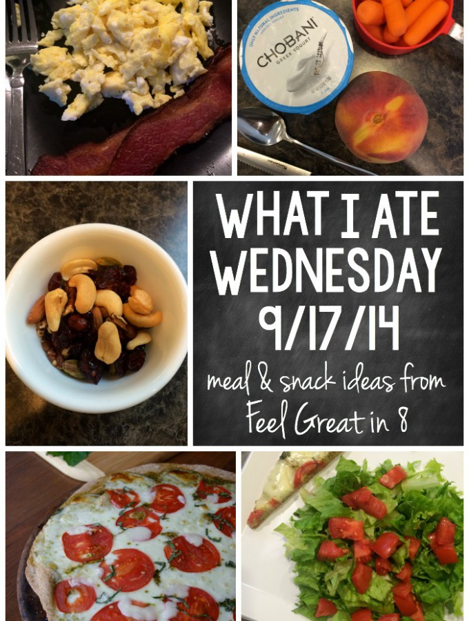 Healthy meal and snack ideas from Feel Great in 8! Includes all nutrition information!