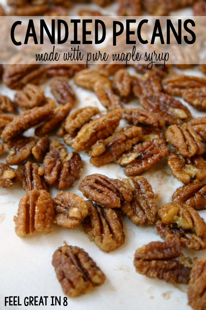 Candied Pecans - Made With Pure Maple Syrup! With no refined sugar and heart healthy nuts, this is the perfect healthy holiday treat. | Feel Great in 8 #healthy #dessert #christmas #candy