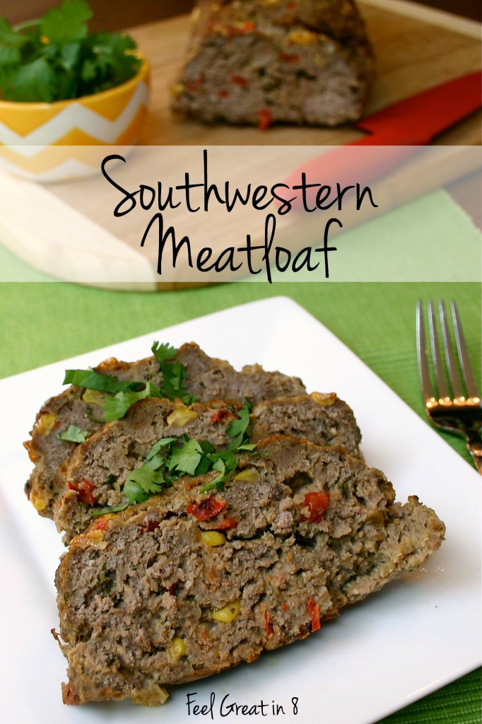 This delicious, healthy Southwestern Meatloaf is packed with extra veggies and will be a family favorite dinner! #dinner #hamburger #vegetables #healthy
