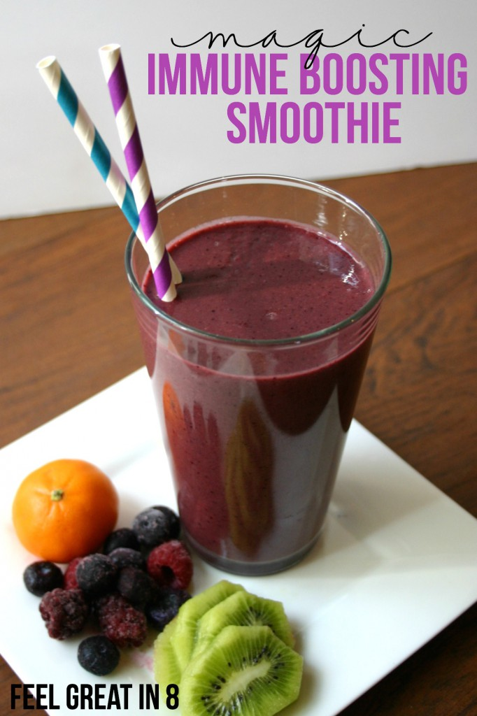 We haven't been sick since we started drinking this Immune Boosting Smoothie! We are finally staying healthy and I'm seriously going to be making this smoothie every day this winter!   Feel Great in 8 #healthy #recipe #smoothie