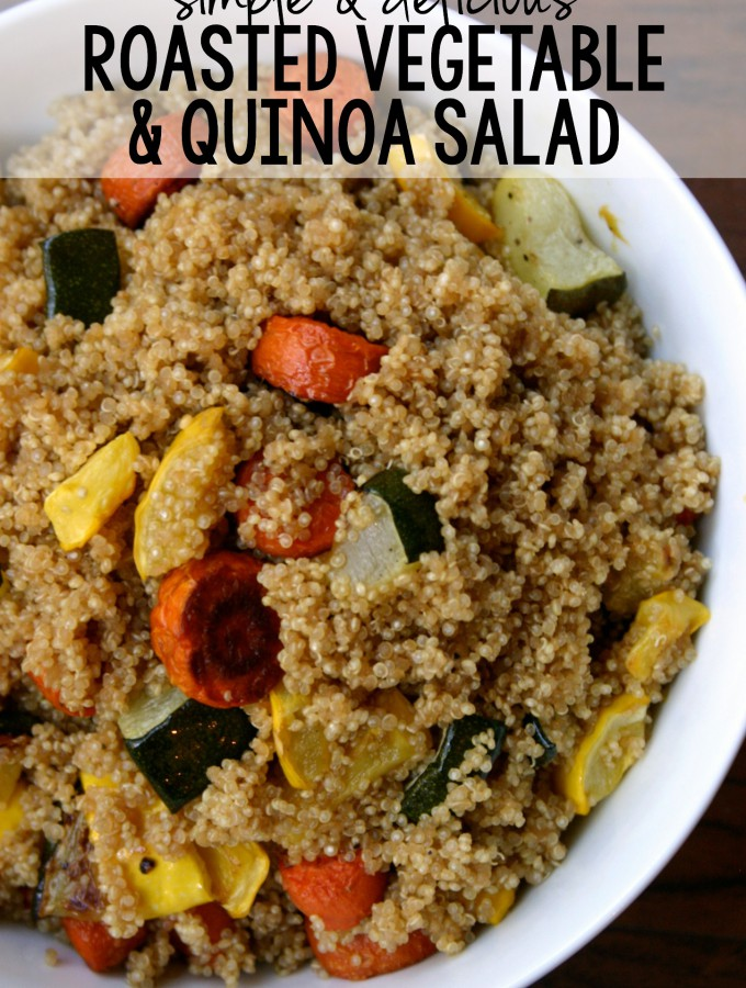 This Roasted Vegetable & Quinoa Salad makes a fantastic side dish for just about any meal, but even has enough protein to be a main dish! | Feel Great in 8 #healthy #recipe #sidedish #quinoa