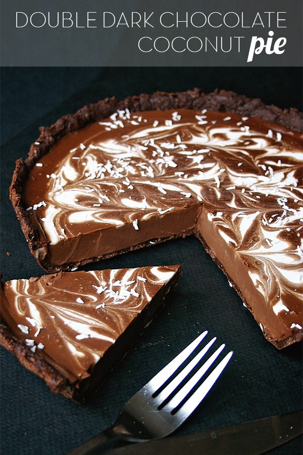 Double Dark Chocolate Coconut Pie