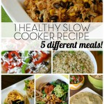 1 Healthy Slow Cooker Chicken Recipe - 5 Meals! This is about as simple as healthy meals get! Make this 1 healthy slow cooker chicken recipe and then serve it 5 different, delicious ways for lunch or dinner! | Feel Great in 8 - Healthy Real Food Recipes