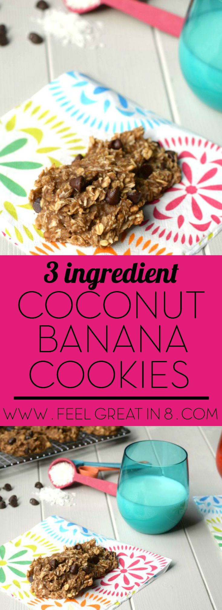 You only need 3 healthy real food ingredients to make these yummy {gluten free, sugar free, dairy free} 3 Ingredient Coconut Banana Cookies. So healthy, they are even perfect for breakfast or an after school snack!