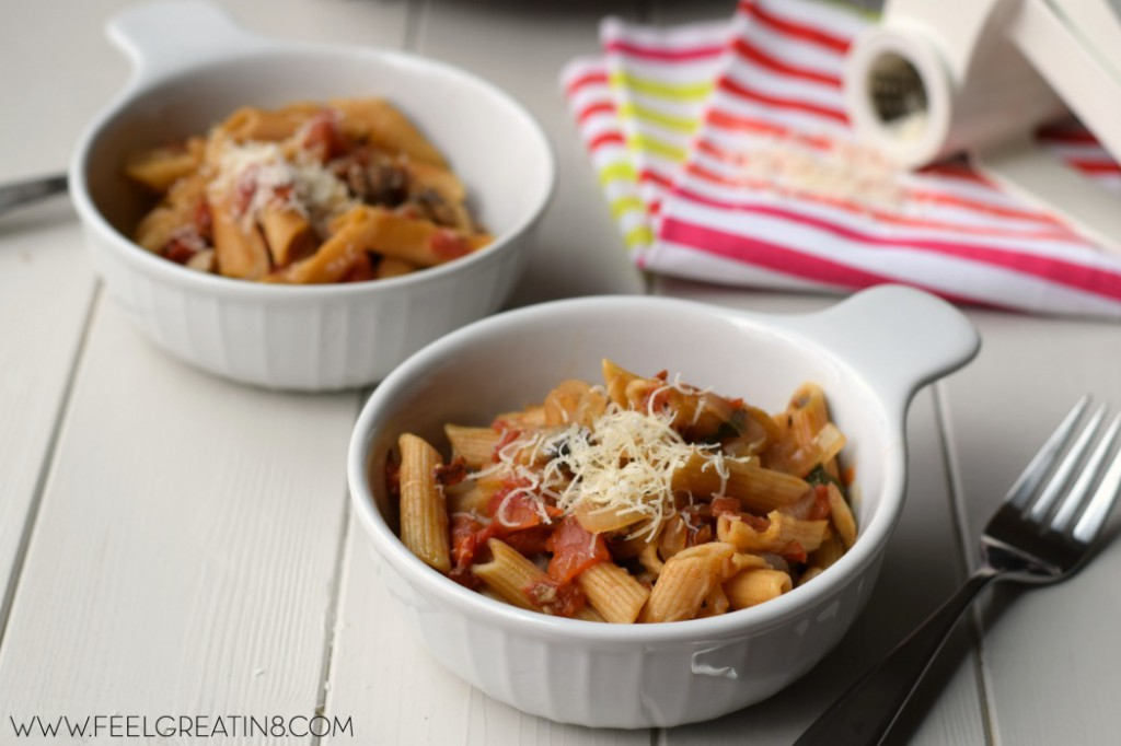 You won't believe how easy it is to make this delicious one pot pasta recipe! Just throw all of the ingredients into a pot, including uncooked pasta, and less than 20 minutes later you have a healthy dinner on the table!