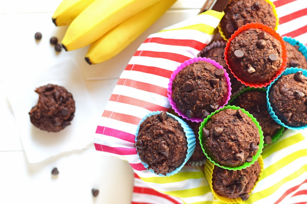 Healthy Chocolate Banana Bran Muffins - You'd never guess these moist, chocolatey, delicious muffins are full of healthy ingredients. Only 120 calories, 3 grams of protein, and 4 grams of fiber each!