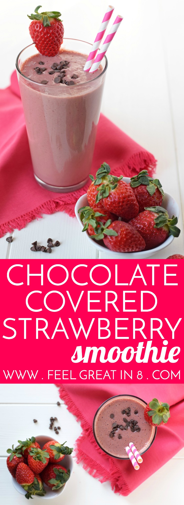 Chocolate Covered Strawberry Smoothie - All the delicious flavors of a chocolate covered strawberry in a dessert that's healthy enough to be breakfast! Clean eating, refined sugar free and made with only 4 healthy real food ingredients!