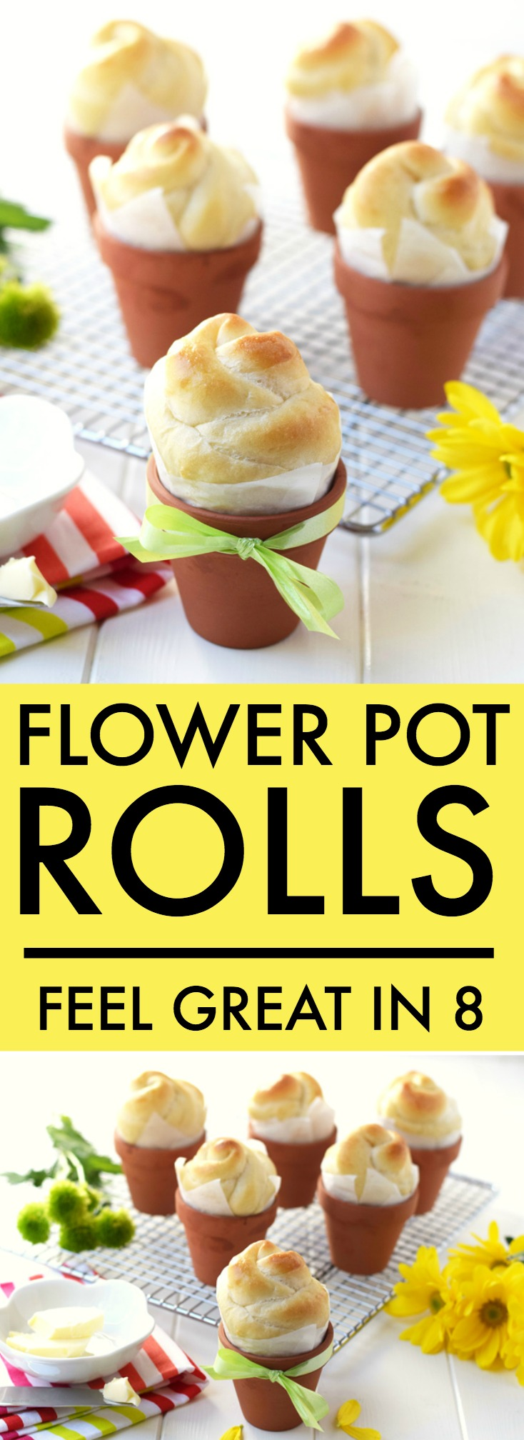 Flower Pot Rolls - Did you know that you can bake rolls right in little terra cotta flower pots? This fun how to recipe is perfect for spring!