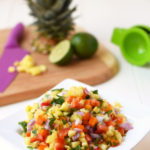 This Fresh Pineapple Salsa is the perfect summer side dish or party appetizer! Only 6 fresh ingredients and 15 minutes to make and the flavor is amazing.