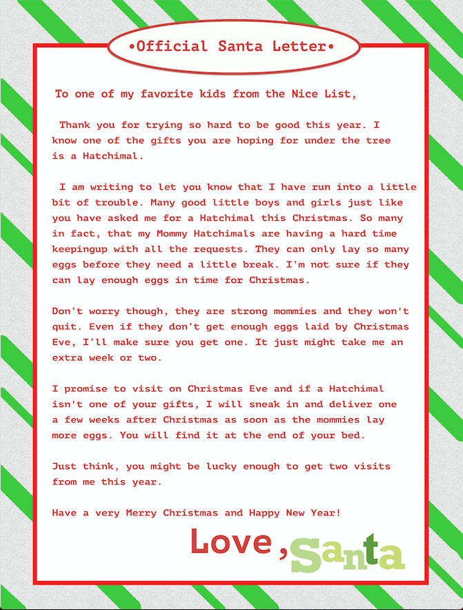 19 awesome printable letter from santa christmas morning pictures cant find a hatchimal feel great in 8 blog cant find a hatchimal feel great in 8 blog from printable letter from santa christmas morning spiritdancerdesigns