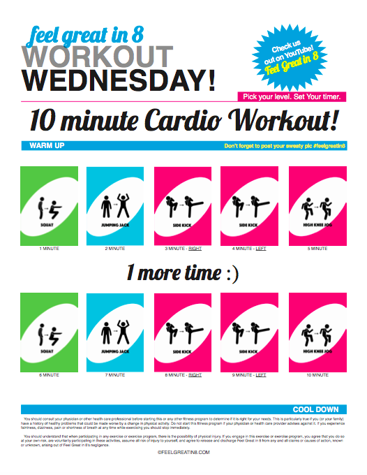 10 Minute Cardio Workout: Wanting to exercise but don't have much time? Get a great cardio workout in just 10 minutes with this easy to follow video and printable PDF.