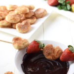 Healthy Chocolate Fondue & Cinnamon Sugar Hearts - Two quick and easy ways to make healthy, clean eating chocolate fondue and indulgent cinnamon sugar hearts to dip! The perfect combination!