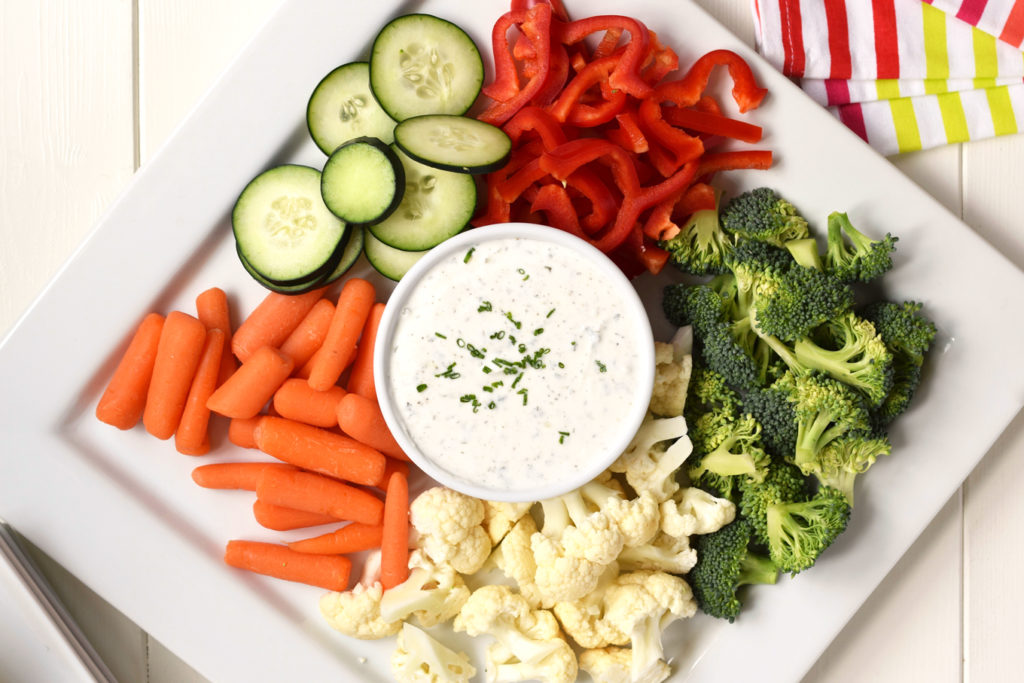Homemade Greek Yogurt Ranch Dip - This simple, healthy dip is perfect for dipping vegetables or even chips. High in protein, low in calories and made with only real food ingredients!